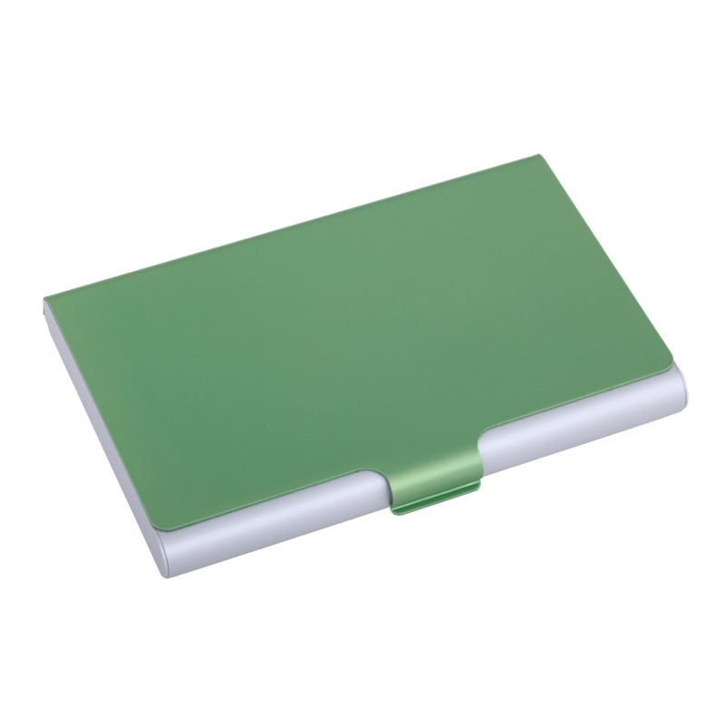 Color Lid business card holder, green/silver photo